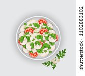 bowl of a salad on white... | Shutterstock .eps vector #1102883102