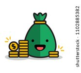 sack with happy smiley and gold ... | Shutterstock .eps vector #1102885382
