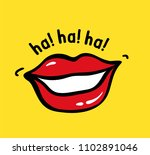 pop art vector red lips on... | Shutterstock .eps vector #1102891046