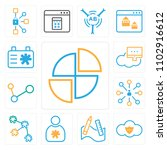 set of 13 icons such as pie...