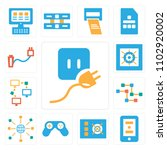set of 13 icons such as plug ...