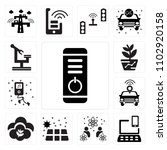 set of 13 icons such as power...