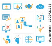 set of 13 icons such as user ...