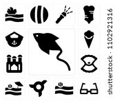 set of 13 icons such as manta...