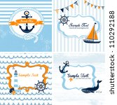 set of 4 nautical cards | Shutterstock .eps vector #110292188