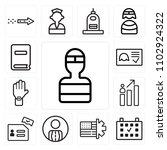set of 13 icons such as welder  ...