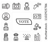 set of 13 icons such as vote ...