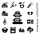set of 13 icons such as leaning ...