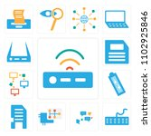 set of 13 icons such as modem ...