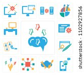 set of 13 icons such as brain ...