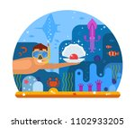 pearl diving concept... | Shutterstock . vector #1102933205