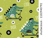 cute alligator rides a scooter. ... | Shutterstock .eps vector #1102940792