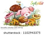 cute pig hand drawn watercolor... | Shutterstock . vector #1102943375