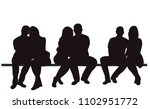 silhouette people sitting | Shutterstock .eps vector #1102951772