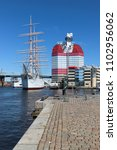 Small photo of GOTHENBURG, SWEDEN - MAY 8, 2018: Old ship in Lilla Bommen harbor in Gothenburg, Sweden