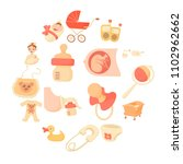 baby born icons set. cartoon... | Shutterstock .eps vector #1102962662