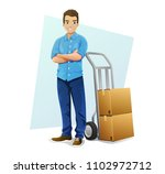 delivery man in blue shirt with ... | Shutterstock .eps vector #1102972712