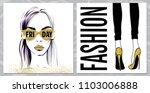 vector girl in glasses. vector... | Shutterstock .eps vector #1103006888