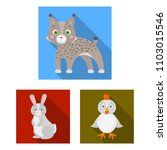toy animals flat icons in set... | Shutterstock . vector #1103015546