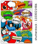 comic book page divided by... | Shutterstock . vector #1103021486