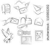 set of vector sketches on mail... | Shutterstock .eps vector #110302202