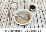 kitchen stuff on white wooden table - stock photo