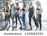 sexy sportive girls are posing... | Shutterstock . vector #1103065532