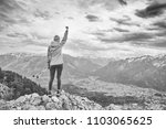 black and white portrait of... | Shutterstock . vector #1103065625