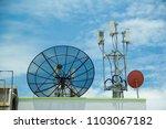 satellite dish on deck.roof...   Shutterstock . vector #1103067182