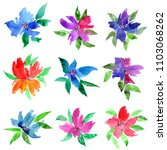 watercolor flowers set. drawing ... | Shutterstock . vector #1103068262