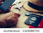 travelers are planning a trip... | Shutterstock . vector #1103080742