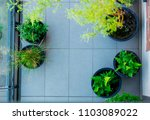 above view at balcony with... | Shutterstock . vector #1103089022