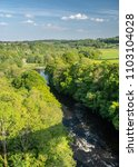 Small photo of View of River Dee from top of old Pontcysyllte Aqueduct near Chirk carrying Llangollen Canal across river Dee