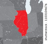 U.S. states - map of Illinois state with paper cut effect. Rivers and lakes are shown. Please look my other images of cartographic series - they are all very detailed and carefully drawn by hand