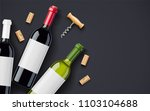 red wine bottle  cork and... | Shutterstock .eps vector #1103104688