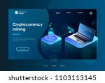 cryptocurrency and blockchain.... | Shutterstock .eps vector #1103113145