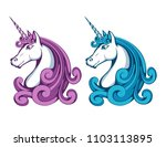 unicorn. cartoon unicorn head.... | Shutterstock .eps vector #1103113895