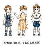 pretty little girls standing... | Shutterstock .eps vector #1103128655