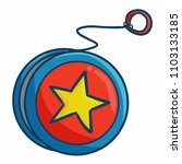 Cool and cute red blue yoyo with star - vector.