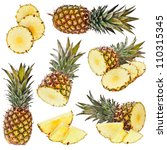 set of pineapple isolated on... | Shutterstock . vector #110315345