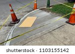 newly poured cement handicapped ... | Shutterstock . vector #1103155142
