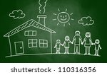 drawing of house and family on... | Shutterstock .eps vector #110316356