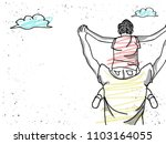 father giving son ride on back .... | Shutterstock .eps vector #1103164055