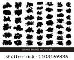 set of black paint  ink brush... | Shutterstock .eps vector #1103169836