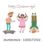 happy children's day. card with ... | Shutterstock .eps vector #1103171522