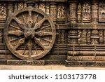 Carved chariot wheel on Konark Sun Temple, Odisha, India