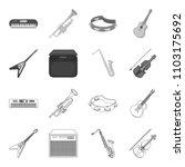 electric guitar  loudspeaker ... | Shutterstock .eps vector #1103175692