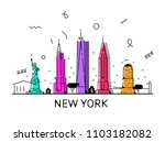 new york city skyline  vector... | Shutterstock .eps vector #1103182082