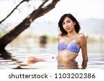sexy girl posing in water.... | Shutterstock . vector #1103202386