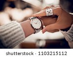 stylish watch on woman hand | Shutterstock . vector #1103215112